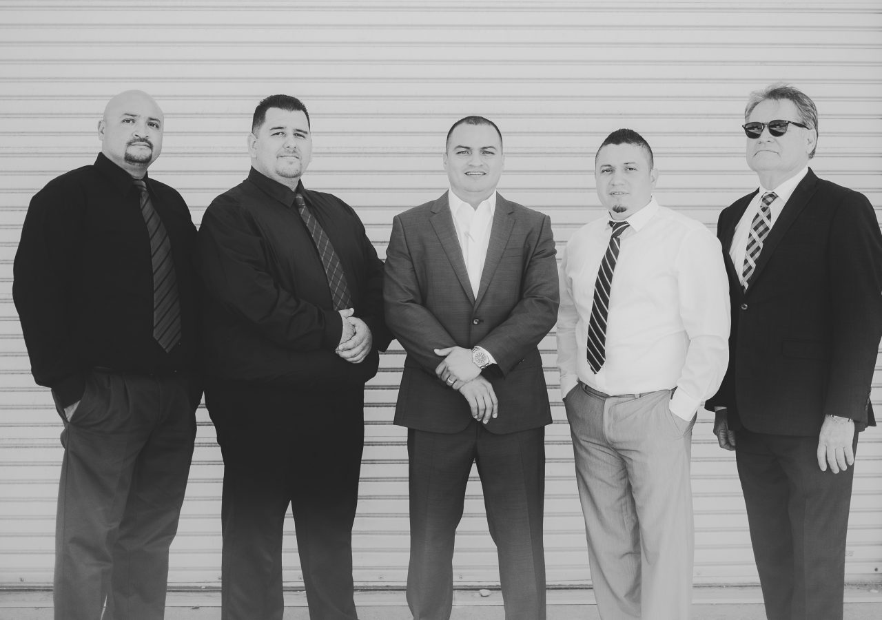 Photo of the team members of AH Construction in Black and White